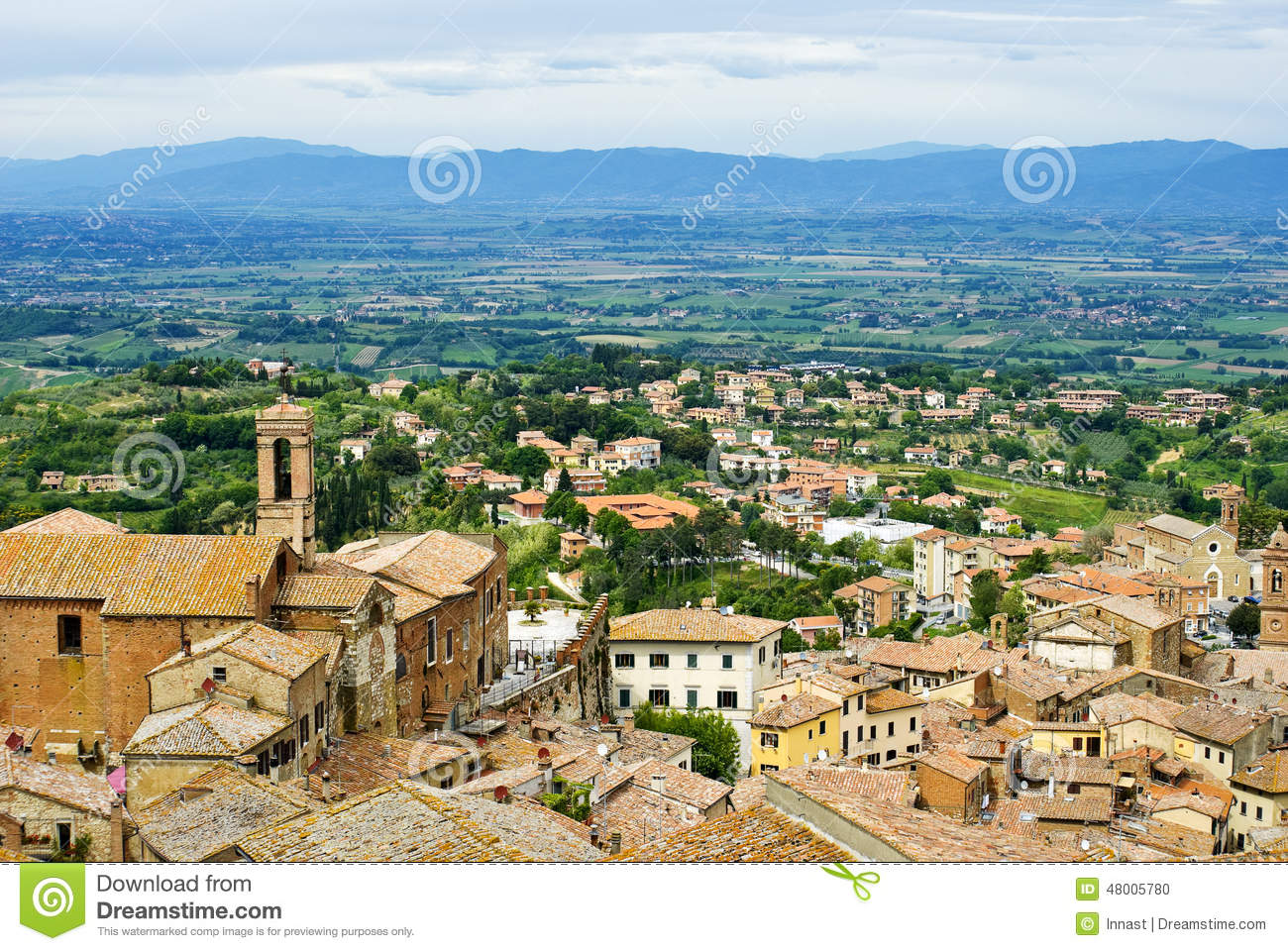View Of Val D'Orcia Valley. Montepulciano Stock Photo.