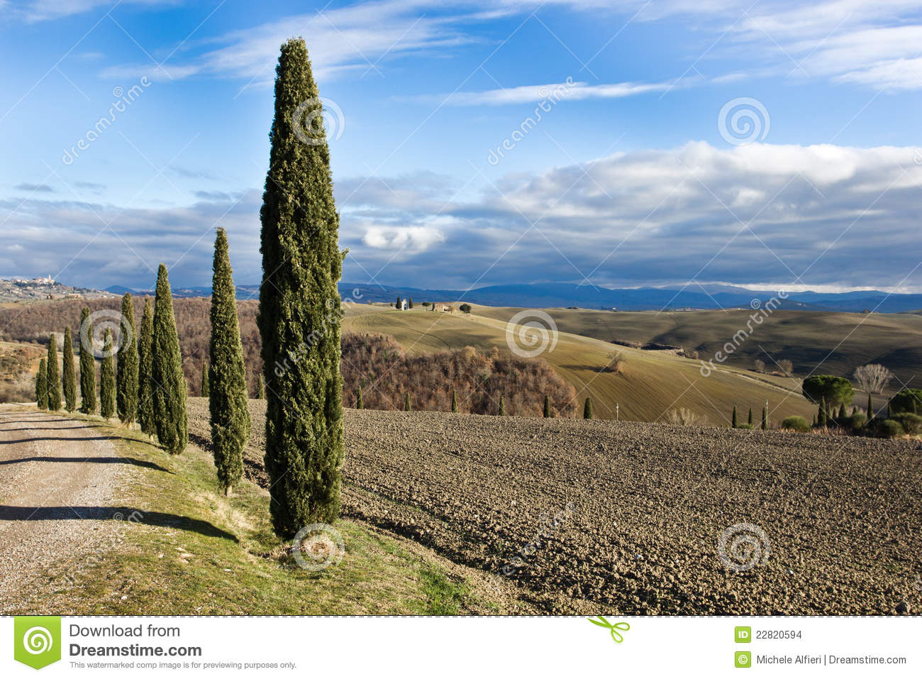 Tuscan Landscape In Winter, Val D'Orcia (Italy). Stock Images.