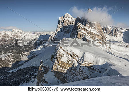 "Stock Images of ""Geisler, 3025m, from Mount Seceda, Val Gardena."