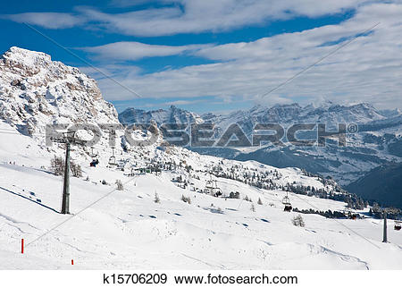 Stock Photograph of Ski resort of Selva di Val Gardena, Italy.