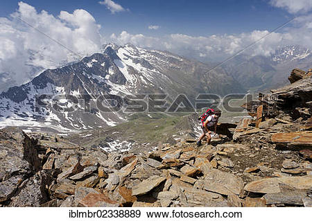 """Stock Photograph of """"Hiker during the ascent to Hochwilde Mountain."""