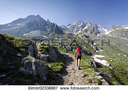 """Picture of """"Hiker on the Merano High Mountain Trail, during the."""