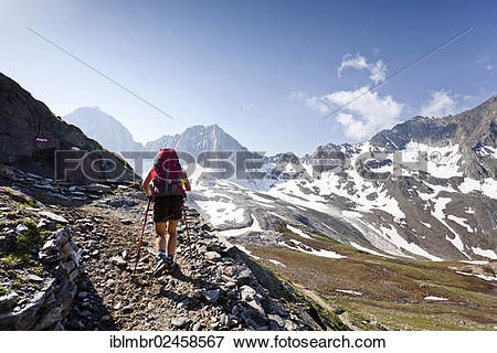 """Picture of """"Hiker on the Merano High Mountain Trail ascending to."""