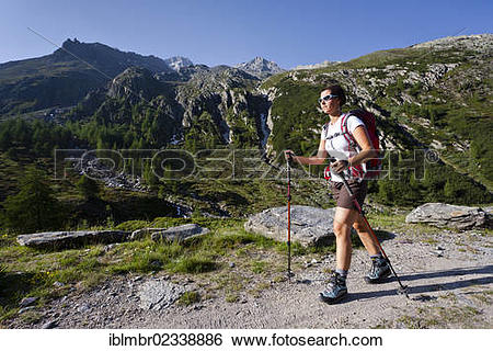 """Stock Images of """"Hiker on the Merano High Mountain Trail, during."""