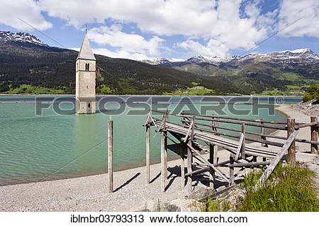 "Stock Photo of ""Steeple of Altgraun in Lake Reschen, Alta Val."