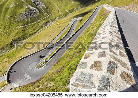 Stock Image of Mountain pass Stelvio or Passo dello Stelvio road.
