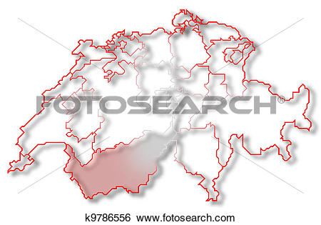 Stock Illustration of Map of Swizerland, Valais highlighted.