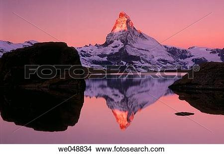 Stock Photo of Matterhorn reflected on Riffelsee in October, Alps.