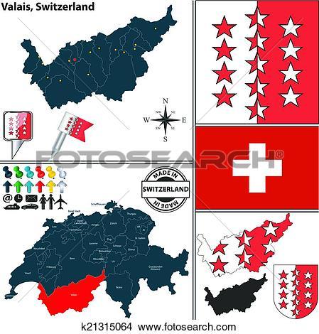 Clipart of Map of Valais, Switzerland k21315064.