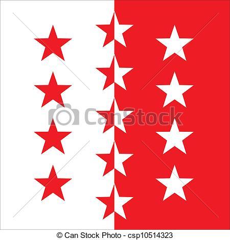 Vector Illustration of Valais flag.