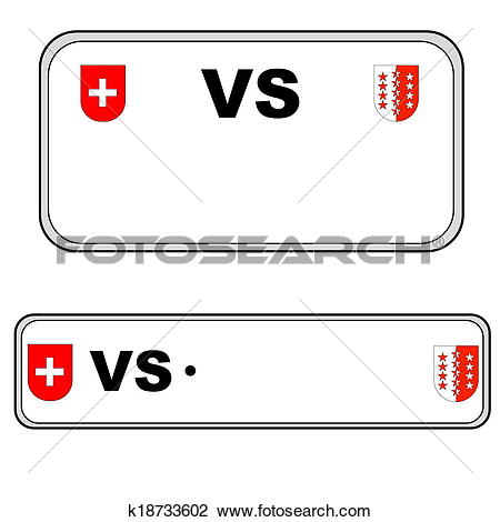 Clip Art of Valais plate number, Switzerland k18733602.