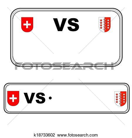 Clip Art of Valais plate number, Switzerland k18733602.