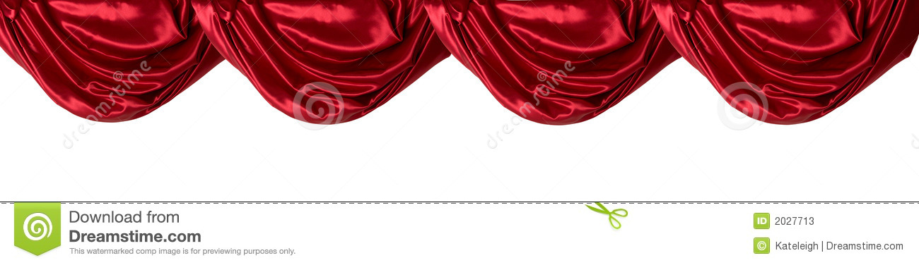Red Curtain Valance, Isolated Stock Photos.