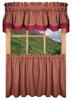 York Wine Red Bordered Valance.
