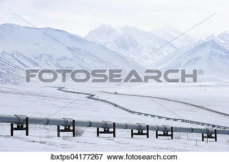 Picture of Oil pipeline from Prudhoe Bay to Valdez in the Arctic.