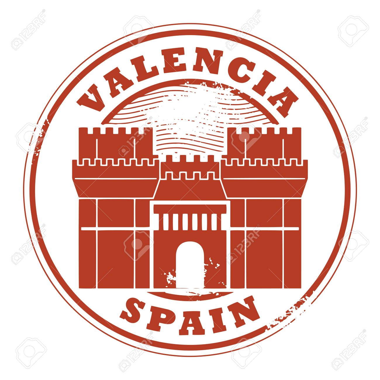 Grunge Rubber Stamp With Words Valencia, Spain Inside Royalty Free.