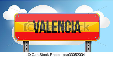 Drawings of valencia spain road street sign illustration design.