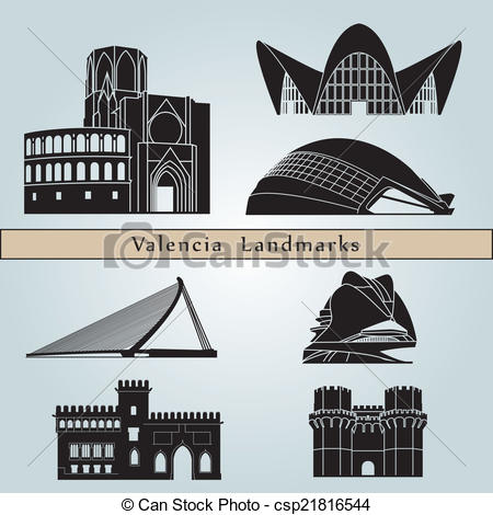 EPS Vector of Valencia Landmarks.