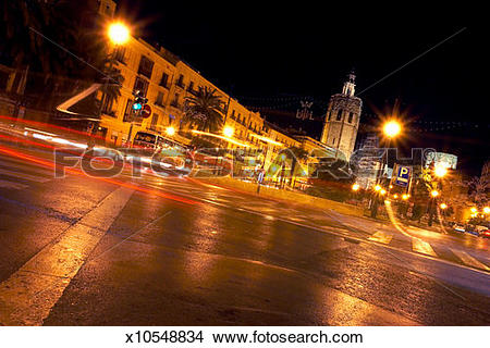 Stock Photo of Spain, Valencia, Valencia Cathedral and town square.