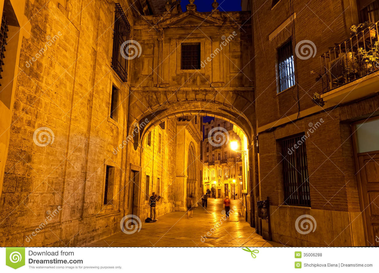 Valencia At Night, Spain Royalty Free Stock Photos.