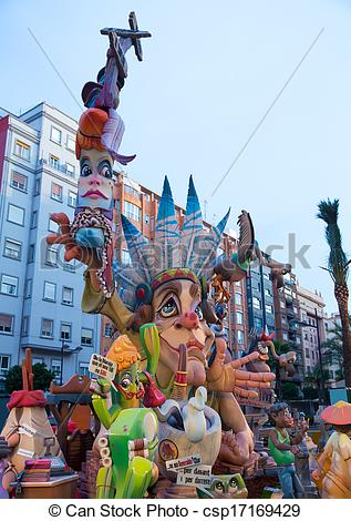 Clip Art of Fallas is a popular fest in Valencia Spain with.