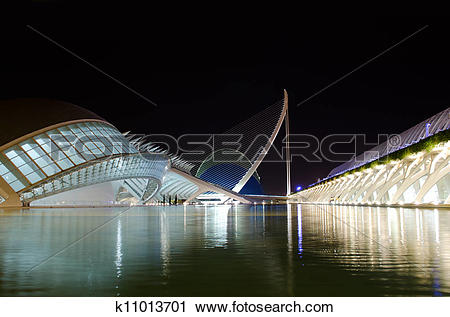 Stock Photography of Center of Arts and Science in Valencia, Spain.