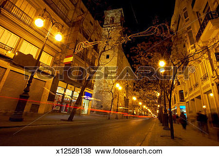 Pictures of Spain, Valencia, lights of car passing through street.