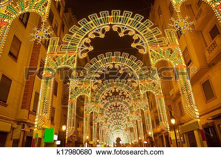 Stock Photography of Beautiful night lights in Fallas fest of.