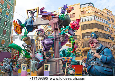 Stock Illustration of Fallas is a popular fest in Valencia Spain.