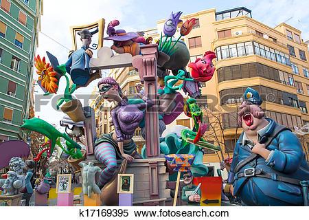 Stock Illustration of Fallas is a popular fest in Valencia Spain.