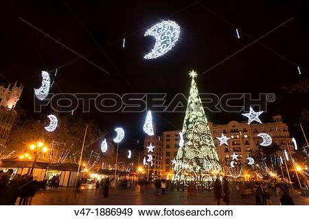 Stock Photograph of Christmas lights in the streets of Valencia.
