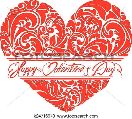 Clipart of Red ornamental floral heart with calligraphic text.
