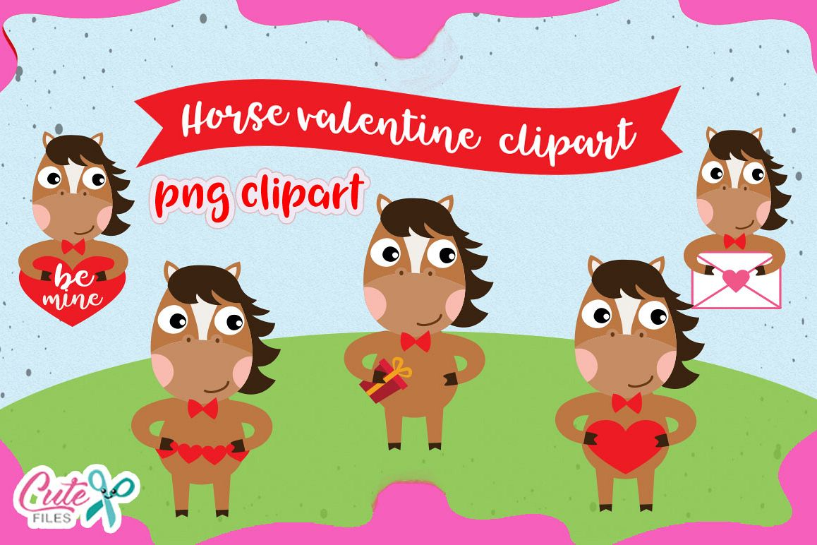 Horse Love Clipart set, valentine animals cliparts.