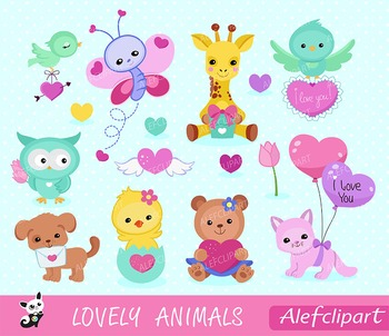 Lovely Animals Valentine Clipart,.