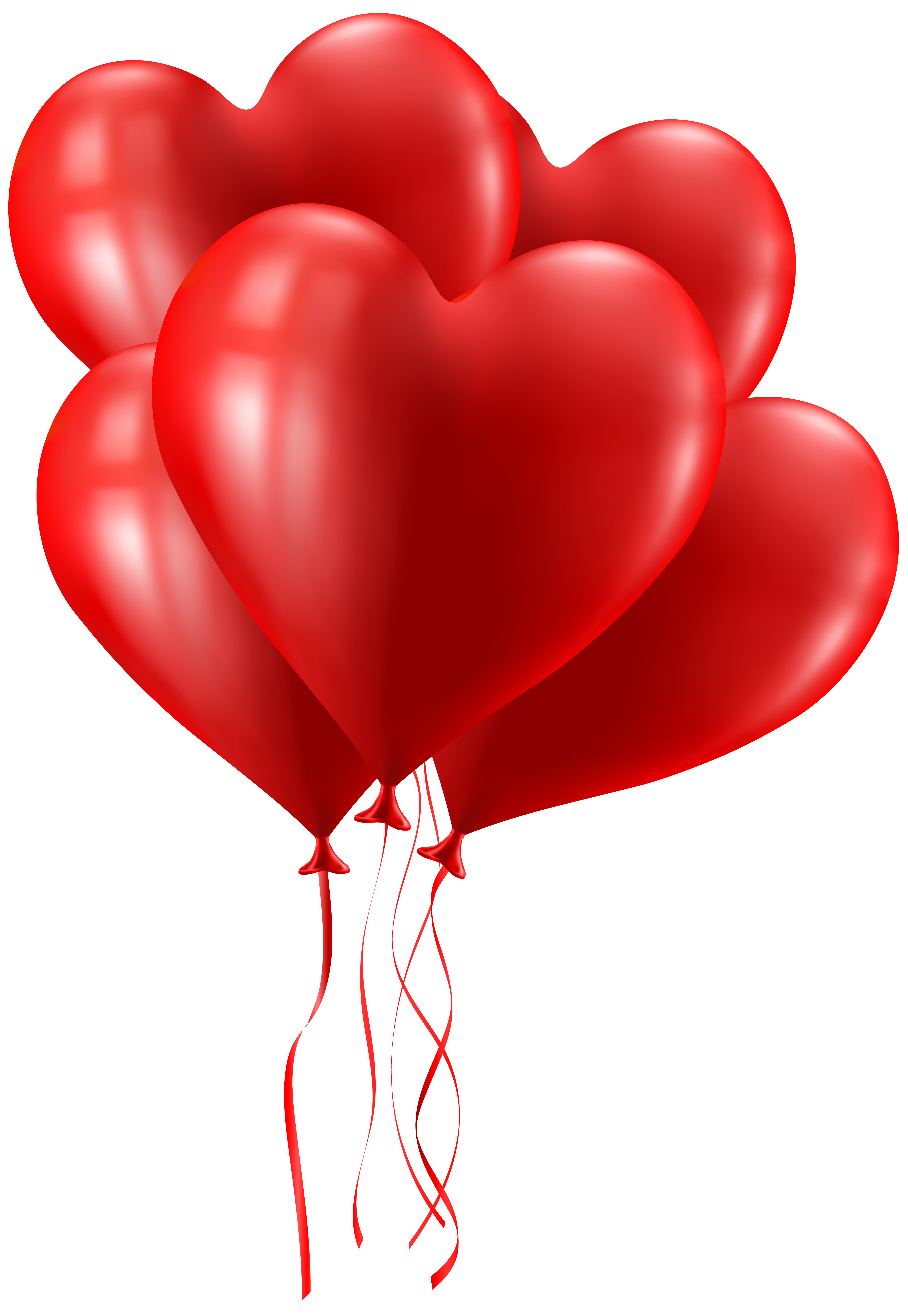 Valentine\'s Day Heart Balloons Clip Art Image.