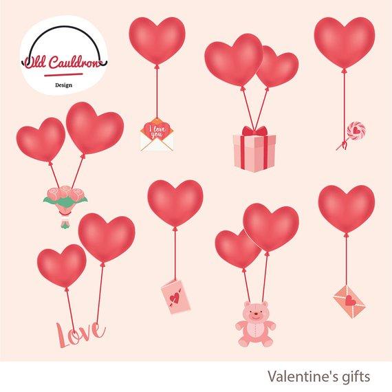 Valentines balloons clipart, valentines clipart, valentine\'s.