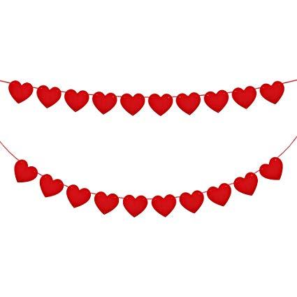 Konsait 5M/16.4FT valentine Felt Heart Garland Banner Red Love Heart  Bunting Decoration for Valentine\'s Day party, Wedding Anniversary,  Engagement,.