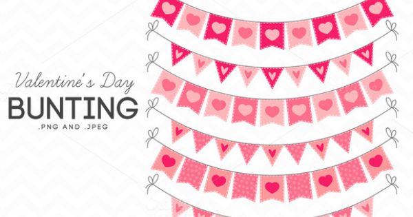 Valentine's Day Bunting Clip Art.