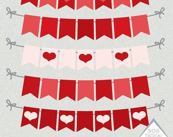 Rustic Heart Banner, Wedding Heart Banner, Valentine Banner.