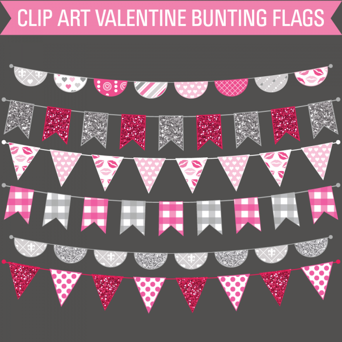 Clip Art Valentine Pattern Bunting Banner Flags.