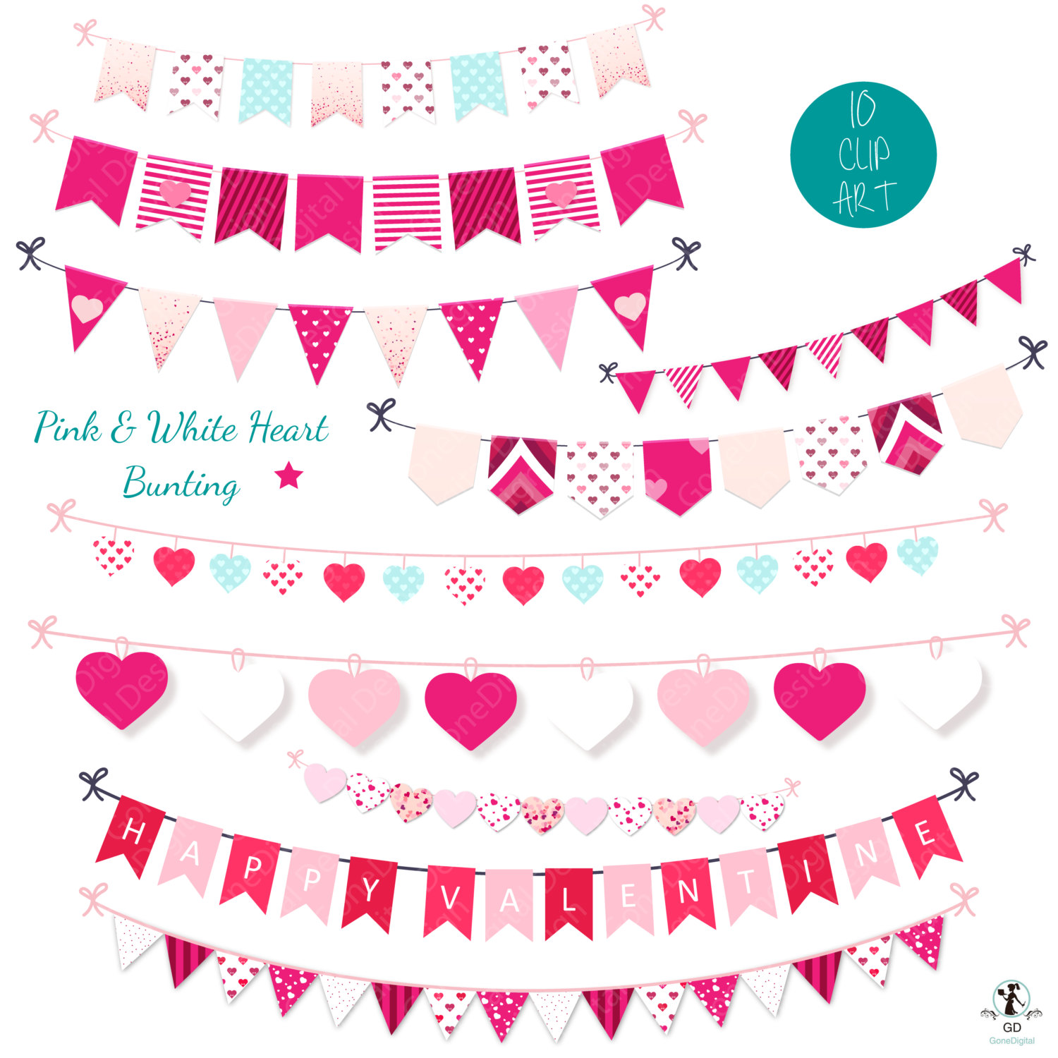 Bunting banner clipart set penant banner garland bunting clipart.