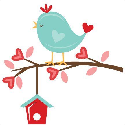 Valentine Bird on Branch.