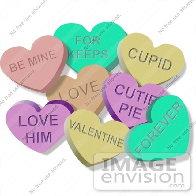 Valentine's Day Candy Hearts Clip Art.
