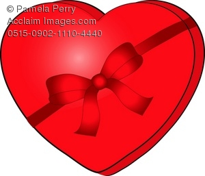 Clip Art Illustration of a Red, Heart Shaped Box of Valentine.