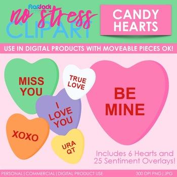 Valentine Candy Hearts Clip Art (Digital Use Ok!).
