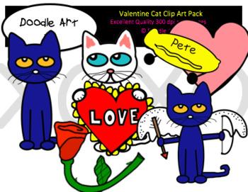 Cool Cat Valentine Clip Art Pack.