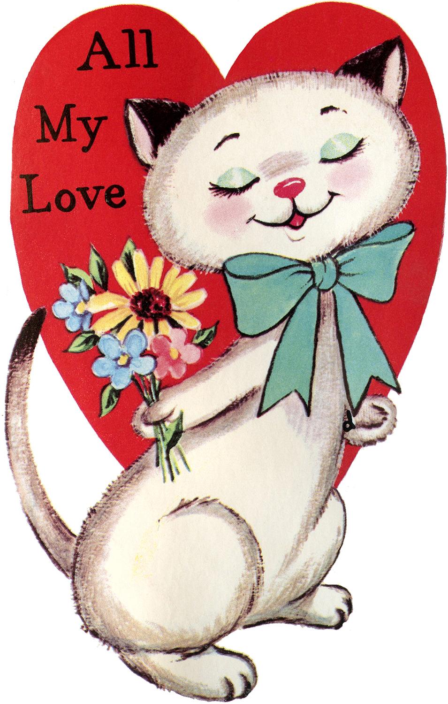 9 Retro Valentines with Animals!.