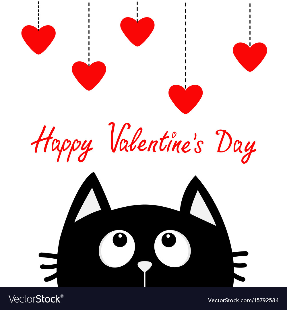 Happy valentines day black cat looking up to.
