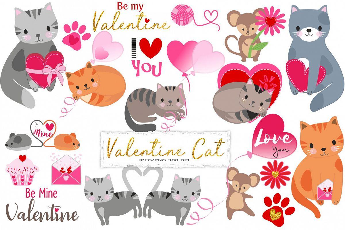 Valentine Cat Clipart.