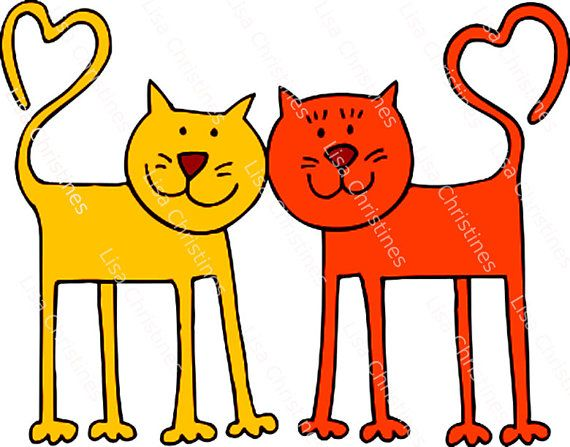 Valentine Illustration Valentine Cats Instant by.